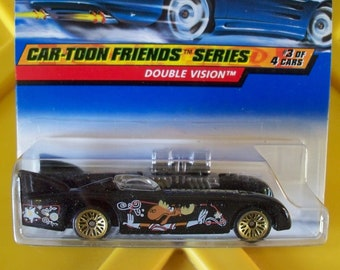 Hot Wheels 1998** #987 Car-Toon Friends**Double Vision Bullwinkle**20 Yr. Vintage**1 in Stock! New On Card!