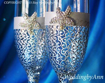 Silver Starfish wedding champagne glasses, Beach Wedding glasses, Wedding toasting glasses, Wedding gift, Bridal shower gift