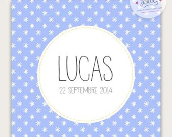 """Do - birth announcement or christening """"Lucas"""" printed stars, chic and modern to be personalized"""