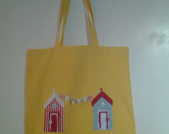 Yellow Cotton Tote Bag with Hand Crafted Beach Hut Appliques and Paper Bunting