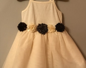 Ivory TuTu Tank Dress with Flower Appliques