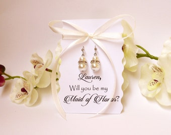 Will you be my Bridesmaid Proposal Card with Pearl Earrings Bridesmaid Gift Bridesmaid Inviitation