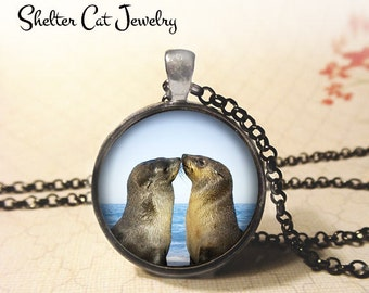 "Seals in Love Necklace - 1-1/4"" Circle Pendant or Key Ring - Handmade Wearable Photo Art Jewelry - Nature, Wildlife, Animal Art Gift"