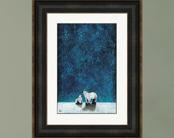 PRINT or GICLEE Reproduction -- Mommy and Baby Polar Bear and Stars, Northern Lights, Polar Bear Painting -- Wishing on Stars