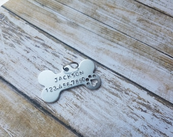 Pet Identification Charm, Dog Bone ID Tag, Custom Pet Name Tag, Dog Name Tag, New Pet Accessory, Dog ID Tag, Custom Dog Accessories