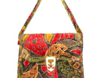 Vintage 60s tapestry handbag fabric purse