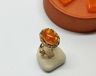 17.7 mm Ring Gold 333 Amber Handmade GR424