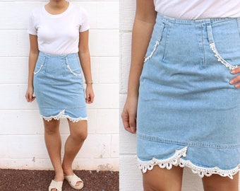 Jean Pencil Skirt Lace Hem