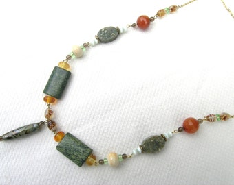 Stunning unique semi-precious stone + vintage bead upcycled necklace hand made glass bead orbicular jasper snakeskin jasper smoky quartz