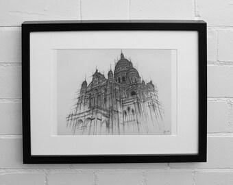 Sacre Coeur,  Architecture Print, Paris Print, Paris Skyline, Paris Wall Art, Paris Decor, Architecture, Wall Art Print, Drawing Print