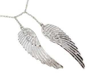 Solid 925 Silver Angel Wings Necklace