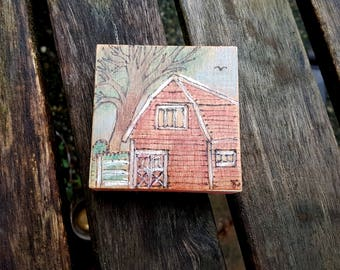 Country Farm Mini Pyrography Art Piece, choose hanger or magnet, Big Red Barn with a White Fence and Large tree in chalk pencil, rural life