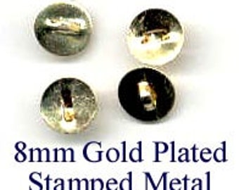 Button Shanks 100 - 8mm Gold Plated Stamped Metal - item J002
