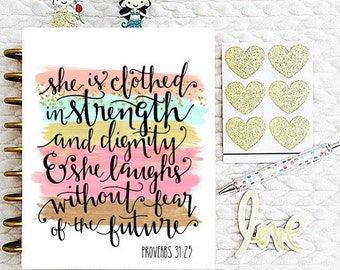 """Happy Planner Cover Set: """"She Is Clothed"""", 10 Mil Laminated"""