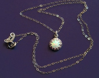 Tiny Sterling Silver Crown Bezel and Synthetic Opal Necklace