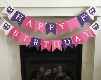 Owl Birthday Banner, First Birthday, 1st, Happy Birthday Banner, Girl Birthday Banner, Owl Party Decorations, Hot Pink Purple, Photo Prop