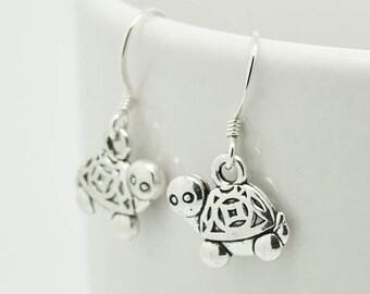 Turtle Earrings, Silver Earrings, Turtle Jewelry, Charm Earrings, Bridesmaid Gift, Gift for Her, Animal, Dangle Earrings, Antique Silver
