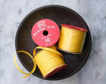 Vintage Paper Curling Ribbon / 3 Rolls Faded Yellow / Rippl Tie Ribbon Spool / NOS