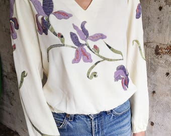 Iris Envy 1970s Cream Embroidered Floral Embroidered Blouse XS S