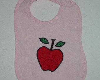 Handmade Baby Bib - Toddler Bib - Red Apple - Applique - Pink Terrycloth Toddler Bib