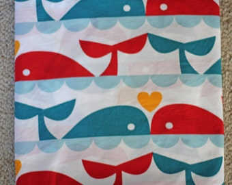 Organic Birch Whale Love Fabric - Dan Stiles Marine Too- 1 Yard - Ocean Designer Fabric Destash Aqua Blue Teal Red Bunting Boat