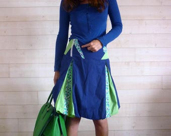 Dark blue and light green ball Bubble skirt