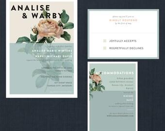 Modern Botanical Rose Wedding Suite // DIY Printable Invite + RSVP // Modern Wedding, Botanical Wedding, Botanical Rose