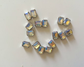 Rhinestone sertisse 6 * 8 has sew silver Crystal AB