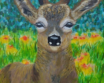 Young Stag Acrylic Painting