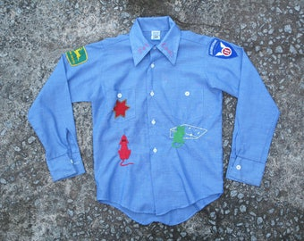 vintage childrens embroidered chambray shirt