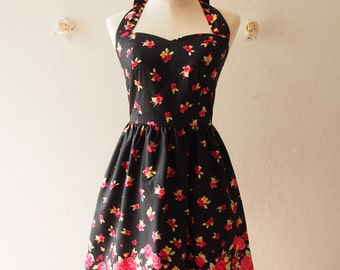 20% OFF Sale Black Vintage Sundress Red Floral Vintage Inspired Red Floral Tea Party Dress Halter Retro Modern Dress Gift for Women, custom