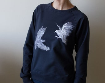 Crows & heart - embroidered sweatshirt