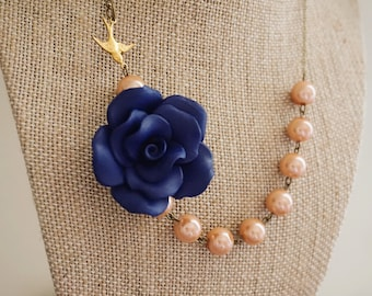 Bridesmaid Gift Bridesmaid Jewelry Statement Necklace Dusty Pink Necklace Navy Blue Necklace Bib Necklace Flower Necklace Bird Necklace Gift