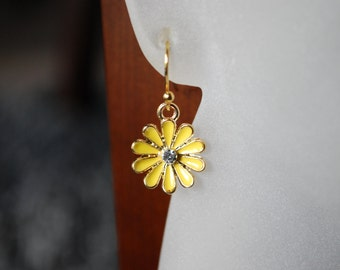 Yellow Daisy Earrings -- Little Yellow Daisies, Tiny Crystals, 14k Gold