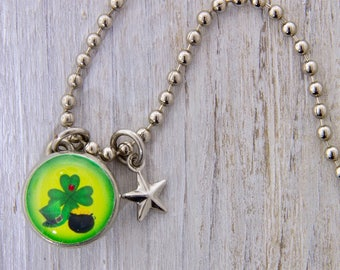 St.Patricks Day Charm, Kids Necklace, Childrens Jewelry, Girls Necklaces, Girls Bracelets, Interchangeable jewelry, Kids Bracelet