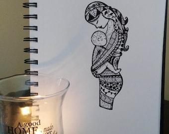 Together, Instant Digital Download of Original Pen Drawing. Motherhood Art, Mother and Child, Zentangle, Illustration, Mum & Baby, Gift