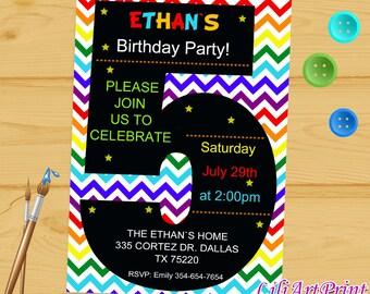 Rainbow 5th Birthday Invitation, Third Birthday Boy or Girl, boy birthday invitation, baby invite,  birthday party, Digital file