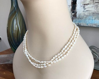 Freshwater Rice Pearl Triple Strand Necklace