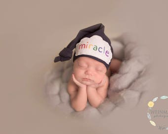 Rainbow baby - personalized baby gifts for newborns - baby shower gift - Baby knot hat name - baby photo props - Newborn Hat