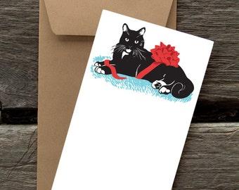 BFHOL14: Tuxedo Cat with Ribbon - 8 Blank flat cards and envelopes