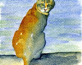 Kitty by the Sea, Original Watercolor Painting