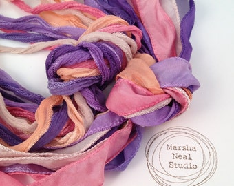 Hand Dyed Silk Ribbon - Silky Ribbon - Fairy Ribbon - Jewelry Supplies - Wrap Bracelet - Craft Supplies - Ice Cream Sorbet Palette