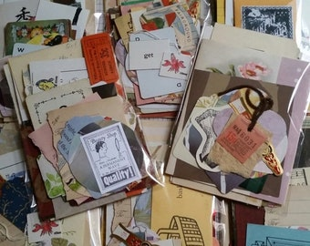 ON SALE 100+ Pc Vintage Mini Paper Pack Found Paper Junk Journal Kit