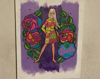 "1960s Vintage Barbie Mixed Media Assemblage on Canvas ~ 12"" x 16"""