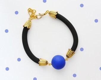Tribal Jewelry, Antique Brass Bracelet, Black Bracelet, Tribal Bracelet, Nautical Bracelet, Antique Bronze, Stackable Bracelet Blue Bracelet