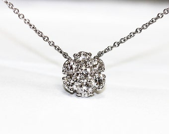 14k Diamond Necklace Pendant Solid White Gold Cluster of .70ct. Diamonds with Chain