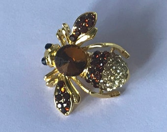 Vintage rhinestone bee pin, bee brooch, brown rhinestone bee pin, bee jewelry, insect pin, insect brooch, insect pin, fly pin, bee pins