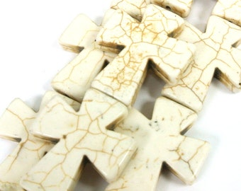 "White Cross Beads, Large Crosses, 35x30mm Magnesite Crosses, White Howlite Crosses, 16"" Strand, 11 PCS, Cross Jewelry, Wholesale Beads"