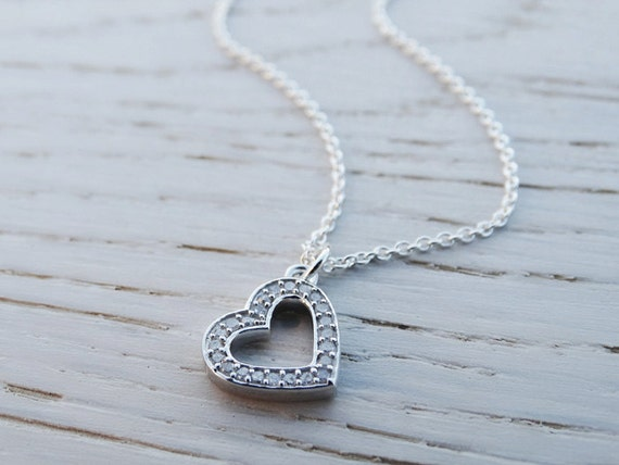 Silver Diamond Heart Necklace - Sterling Silver - Diamonds
