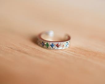Rainbow Pave Ear Cuff Sterling Silver
